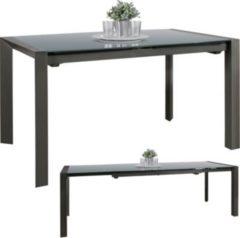 Wohnling Esszimmertisch NOBLE 136 - 236 cm ausziehbar dunkelgrau Metall / Glas Tisch für Esszimmer rechteckig Küchentisch 6 - 10 Personen Design Es