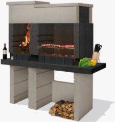 Zwarte Sarom Fuoco - Betonnen barbecue - San Pedro - Houtskool en hout - 160 x 51.5 x 172,2 cm