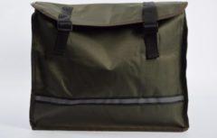 Donkergroene Discountershop Dubbele Fietstas waterdicht met reflecterende strepen voor extra veiligheid- Fietstas Groen 36x30x12cm