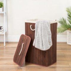Grote Bamboe Wasmand 1 vak met Deksel & stoffen Waszak - Bamboe wasbox wassorteerder - Inhoud wasmand 80 liter - Wasmand voor wasgoed - Wasmanden Opvouwbaar - Wasmand met deksel - Kleur: Bruin - Decopatent®