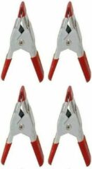 Rode Merkloos / Sans marque 4x Mini zeilklem/zeilclip 5 cm kunststof/staal - Dekzeil klemmen - Hobbyklemmen - Camping/outdoor klemmen - Tafelkleedklemmen