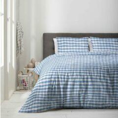 Witte Luna Bedding - Eenpersoons Dekbedovertrek Luna Squares 140x220 cm - Polycotton - Dekbedovertrek met kussensloop