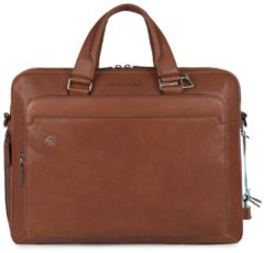 "Bruine Piquadro Black Square Computer Briefcase 15"" + iPad Air/Pro 9.7"" tobacco"
