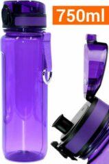 Drinkfles Herbruikbare Waterfles | 750 ml Paars | Vaatwasserbestendig Drinkbus Bidon | King Mungo KMDF015