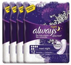 Always Discreet voor urineverlies en incontinentie Maxi Night - Voordeelverpakking 48 Stuks - Maandverband