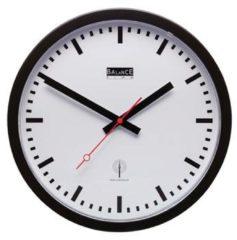 Balance Time Zendergestuurde Wandklok - Klok - Rond - Kunststof - Ø30 cm - Wandklok Wit/Zwart