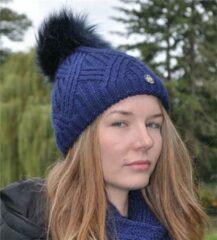Donkerblauwe Hats&Co Dames muts met pluim - donker blauw
