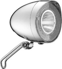 Grijze Union koplamp Retro led dynamo (chroom) - Fietsverlichting