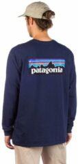 Blauwe T-Shirt Lange Mouw Patagonia M's L/S P-6 Logo Responsibili-Tee