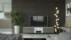 Maxima House VIGO II Zwevend TV Meubel - TV Meubel Hoogglans Grijs / Wit - TV Kast Meubel - Modern Design - 30x180x40 cm - Inclusief LED - Inclusief Glas - Modern Design