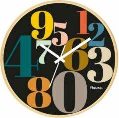 Fisura Wandklok Numbers 30 Cm Glas/hout Zwart/beige