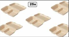 Naturelkleurige Biodore 25x Lunchbox suikerrietpulp 2-vaks Next generation 250x165x70mm - menubox menu take away afhaal natuurlijke grondstoffen
