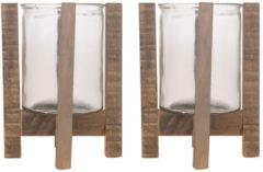 Bruine Bellatio Decorations 2x Houten theelichthouders/waxinelichthouders op standaard 24,5 cm - Kaarsenhouders/lantaarns - Sfeer lichtjes