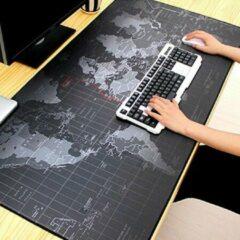 Zwarte Duo Commerce - Grote Gaming Muismat - 88 x 30 CM - Bureau Mat Antislip grijs - Wereldkaart