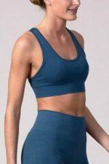 Blauwe REVIVE Sportswear REVIVE seamless Sport bh TROFA - duurzaam - met uitneembare cups