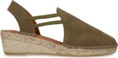 Manfield - Dames - Groene suède sandalen met sleehak - Maat 36