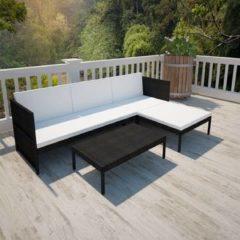 Zwarte VidaXL Poly Rattan Lounge set voor buiten met een 3-zits bank (zwart)