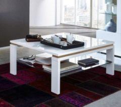Couchtisch 90 x 90 cm weiss mit Balkeneiche mit Glasablage Innostyle Tischserie 2