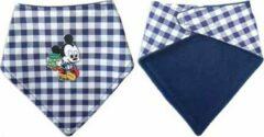 Blauwe Toetie & Zo Handgemaakte Slabber Mickey Mouse - Slabbetje - Slab - Bandana - Spuugdoek - Baby - Kraamkado