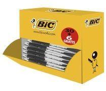 Balpen Bic atlantis classic zwart medium doos à 30+6 gratis - actie!
