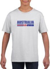 Shoppartners Wit Australie supporter t-shirt voor jongens en meisjes - Australische vlag shirts M (134-140)