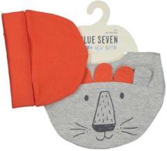 Grijze Blue Seven - newborn 2-delige set kindermuts + slab/sjaal