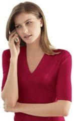 Rode Casual Looks shirt met korte mouwen en V-hals