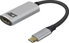Zilveren USB-C naar HDMI adapter met aluminium behuizing - 4K - ACT AC7010
