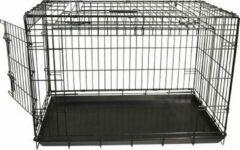 Gebr. de Boon Draadkooi met deur en schuifdeur nr. 2 zwart 76x48x54 cm