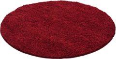 Impression Shaggy Hoogpolig Rond vloerkleed Rood Effen Tapijt Carpet - 80 x 80 cm