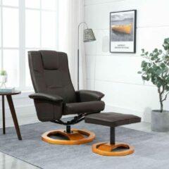 Merkloos / Sans marque Fauteuil Bruin MET Voetenbankje Kunstleer / Loungestoel / Lounge stoel / Relax stoel / Chill stoel / Lounge Bankje / Lounge Fauteil