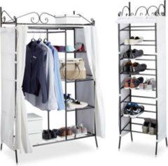 Relaxdays 2 tlg Garderoben Set COUNTRY Stoffschrank Schuhschrank Kleiderschrank Schuhregal