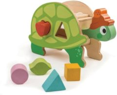 Tender toys Tender Leaf Toys Preschool: VORMENDOOS SCHILDPAD 25x8,8x15cm, met 5 vormen, in hout, in doos 25x9,4x15,8cm, 18m+