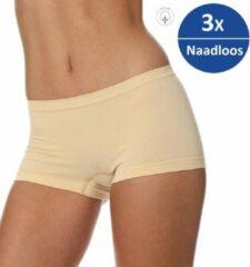Brubeck Dames Ondergoed Boxershorts - Naadloos Elastisch Katoen 3-Pack - Beige - S