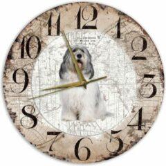 Bruine Creatief Art Houten Klok - 30cm - Hond - Bobtail Terrier