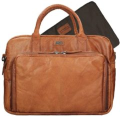 "Bruine Spikes & Sparrow - Bronco - leren business tas / luiertas / laptoptas - 14"" - brandy"