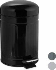 Relaxdays pedaalemmer 3 liter - RVS - prullenbak met deksel - vuilnisbak - binnenemmer zwart