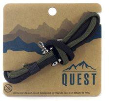 Quest Veter Armband met Schroefsluiting Zwart / Groen Q16