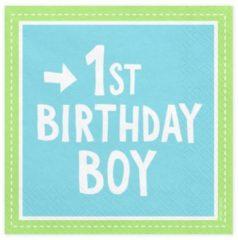 Blauwe PartyDeco Servetten 1st Birthday Boy, 33x33 cm (1 zakje met 20 stuks)