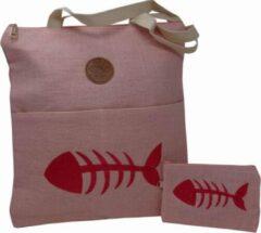 Jessidress Stoer Handtasje met Portemonnee van Jutte Strandtas - Roze