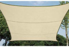 Gebroken-witte Perel SCHADUWDOEK - WATERDOORLATEND ZONNEZEIL - VIERKANT 5 x 5m, kleur: beige