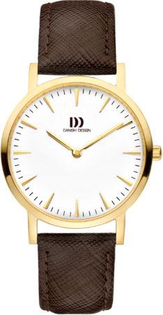 Afbeelding van Gouden Danish Design watches edelstalen dameshorloge London White Gold/Brown Medium IV15Q1235