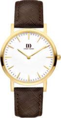 Gouden Danish Design watches edelstalen dameshorloge London White Gold/Brown Medium IV15Q1235