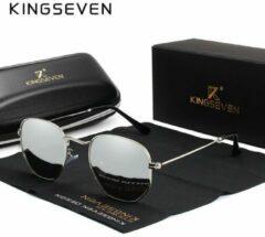 Kingseven Reflect - 2020 trend zonnebril met UV400 en polarisatie filter| Pilotenbril - Zilver Grijs