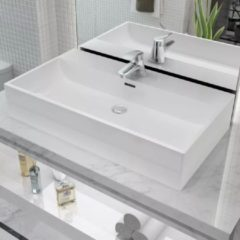 Witte VidaXL Wastafel met kraangat wit 76x42,5x14,5 cm kermiek
