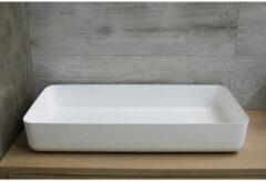 Waskom Opbouw Rechthoekig Luca Sanitair 80x40x13,5 cm Mineraalsteen Glans Wit