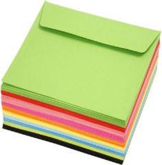 Creotime Gekleurde enveloppen, afm 16x16 cm, 80 gr, 50 stuks, kleuren assorti