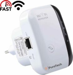 Witte PuroTech Wifi Repeater - Wifi Versterker Stopcontact 300Mbps - 2.4 GHz - Inclusief Internetkabel - Booster - Extender