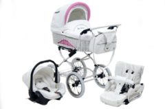 Roze Baby Fashion Retro Kinderwagen met rieten mand 3in1 (incl. autostoel)
