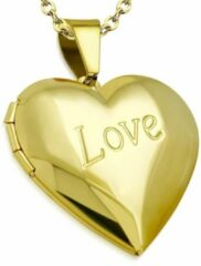 Gouden Amanto Ketting Boja G - 316L Staal PVD - Medaillon - Hart - Ø30mm - 45cm